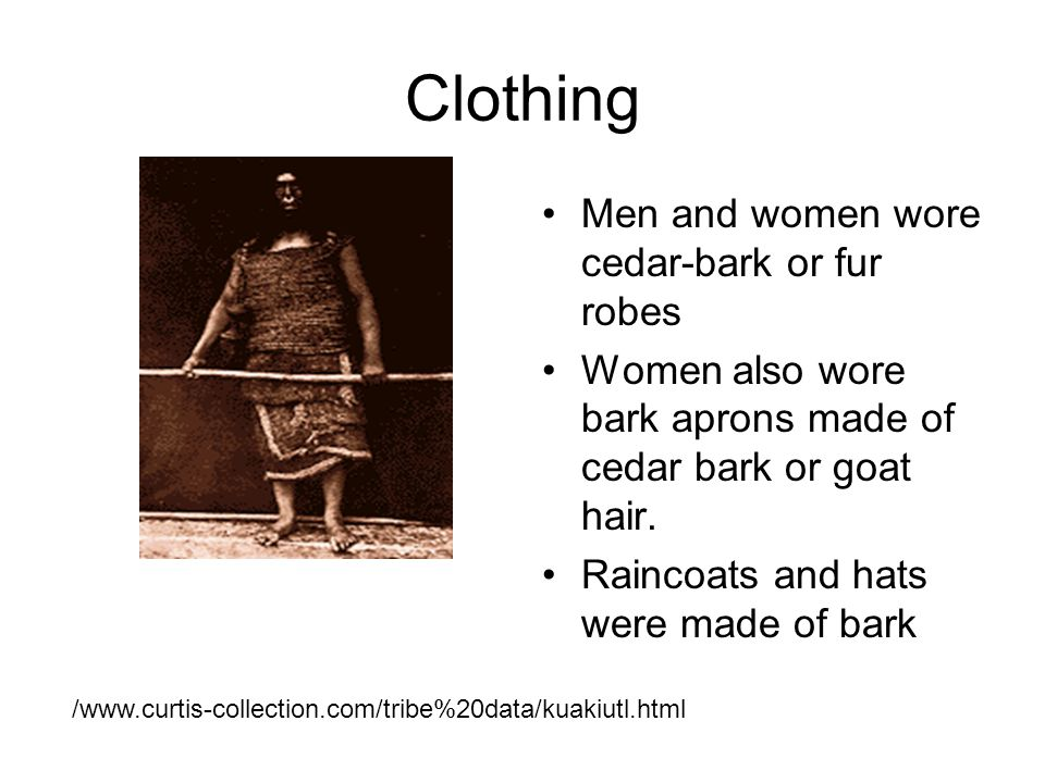 Clothing Men and women wore cedar-bark or fur robes