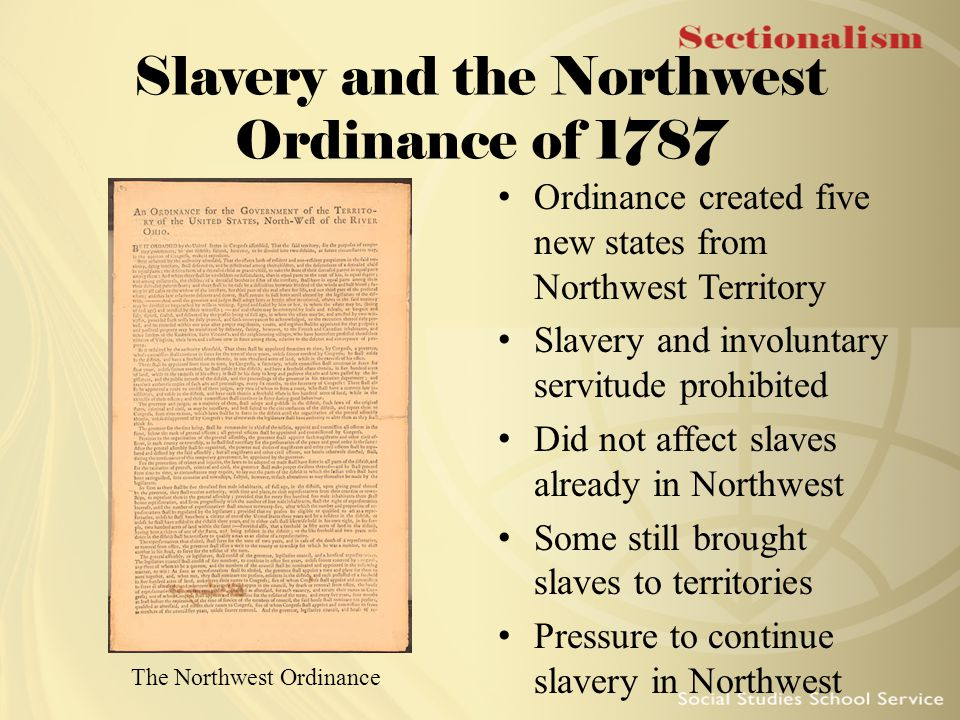 Slavery and the Northwest Ordinance of 1787