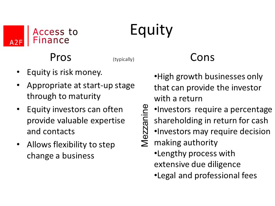 Equity Pros (typically) Cons Equity is risk money.