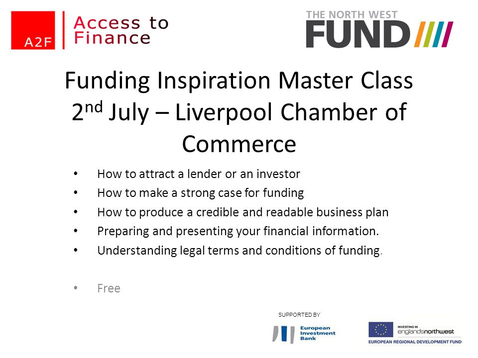 Funding Inspiration Master Class 2nd July – Liverpool Chamber of Commerce