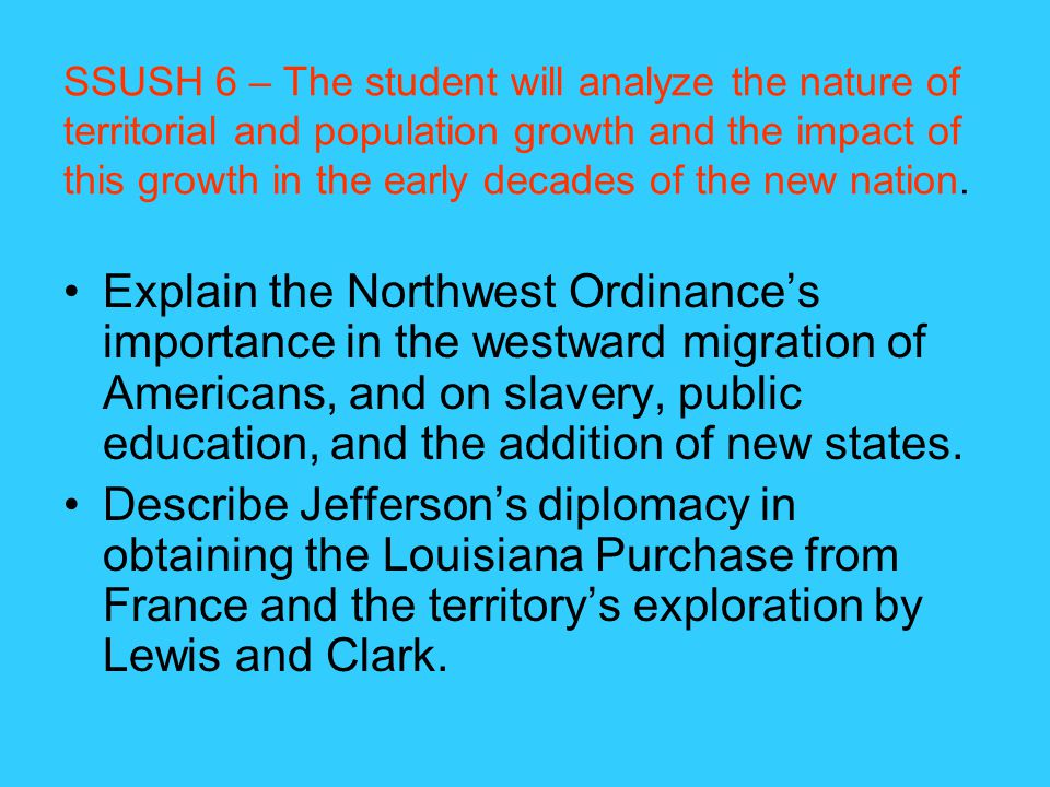 SSUSH 6 – The student will analyze the nature of territorial and population growth and the impact of this growth in the early decades of the new nation.