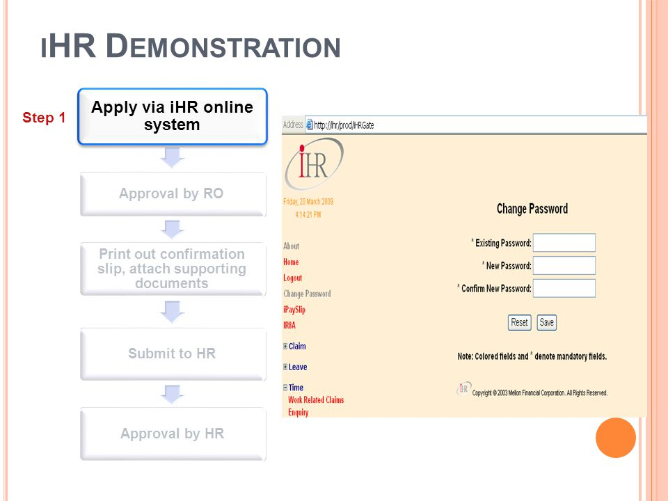 iHR Demonstration Apply via iHR online system Step 1 Approval by RO