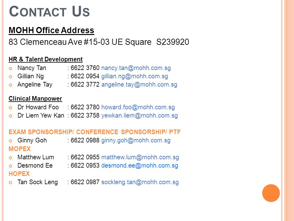 Contact Us MOHH Office Address