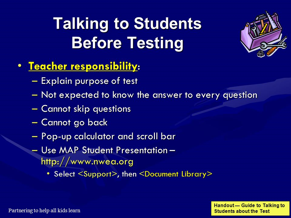 Talking to Students Before Testing