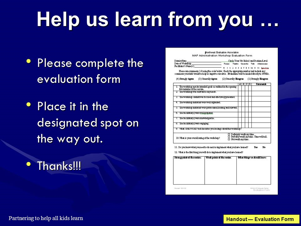 MAP Administration Workshop Teacher Module