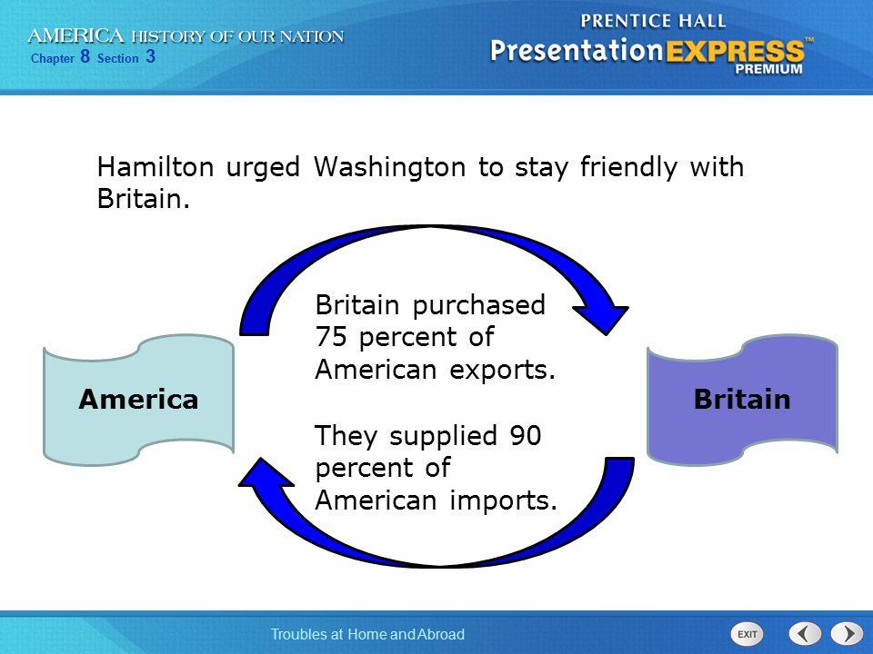 Hamilton urged Washington to stay friendly with Britain.