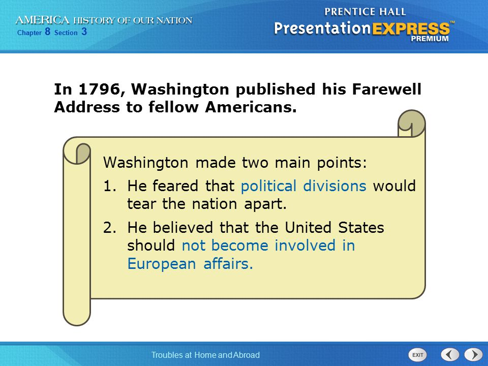 In 1796, Washington published his Farewell Address to fellow Americans.