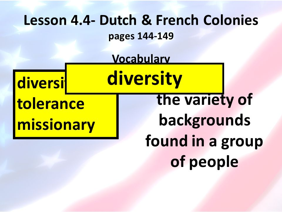 Lesson 4.4- Dutch & French Colonies pages 144-149