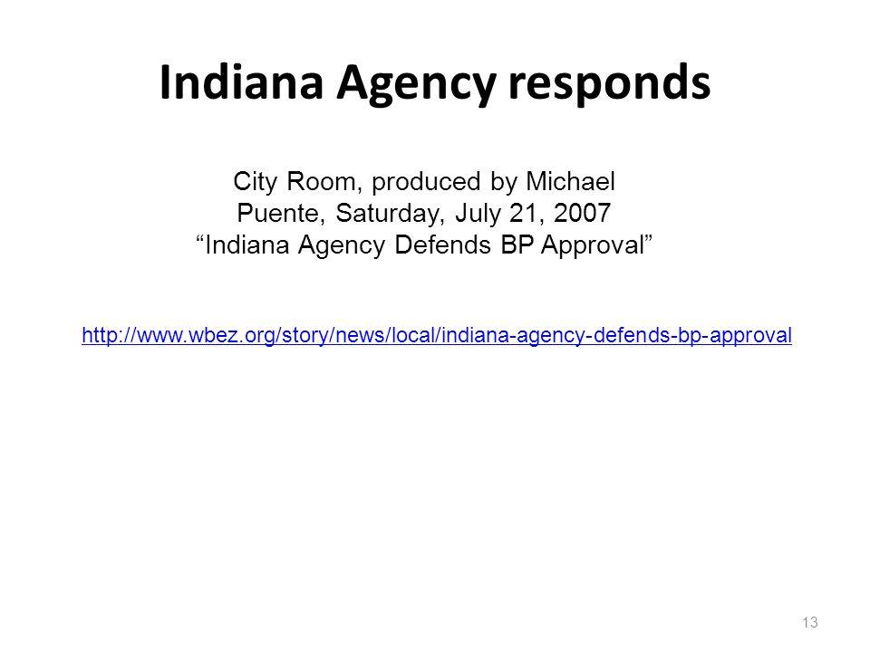 Indiana Agency responds
