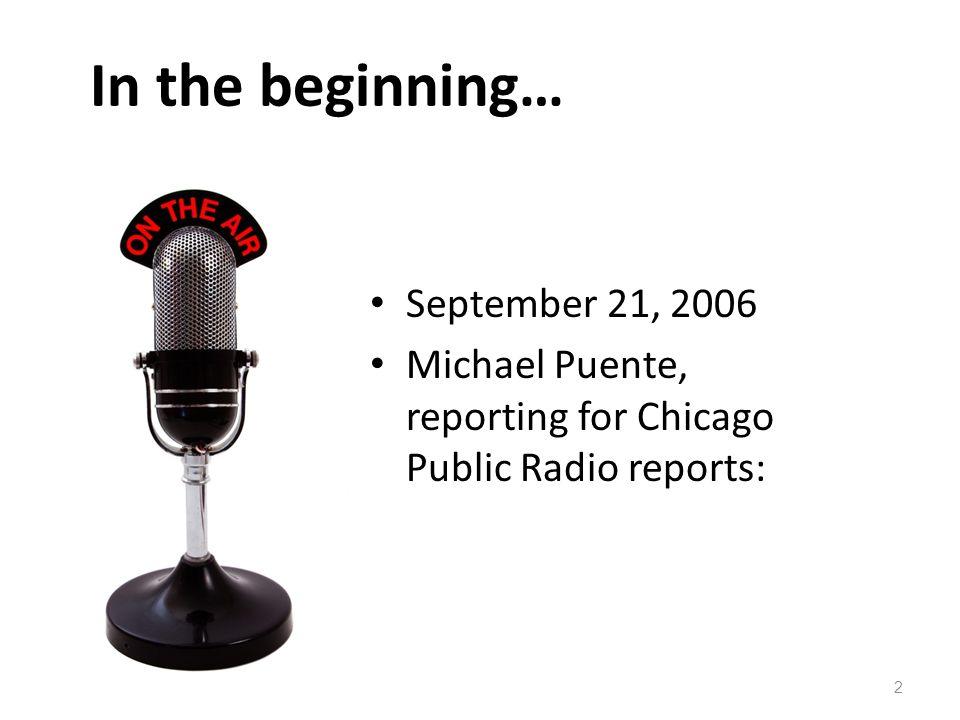 In the beginning… September 21, 2006