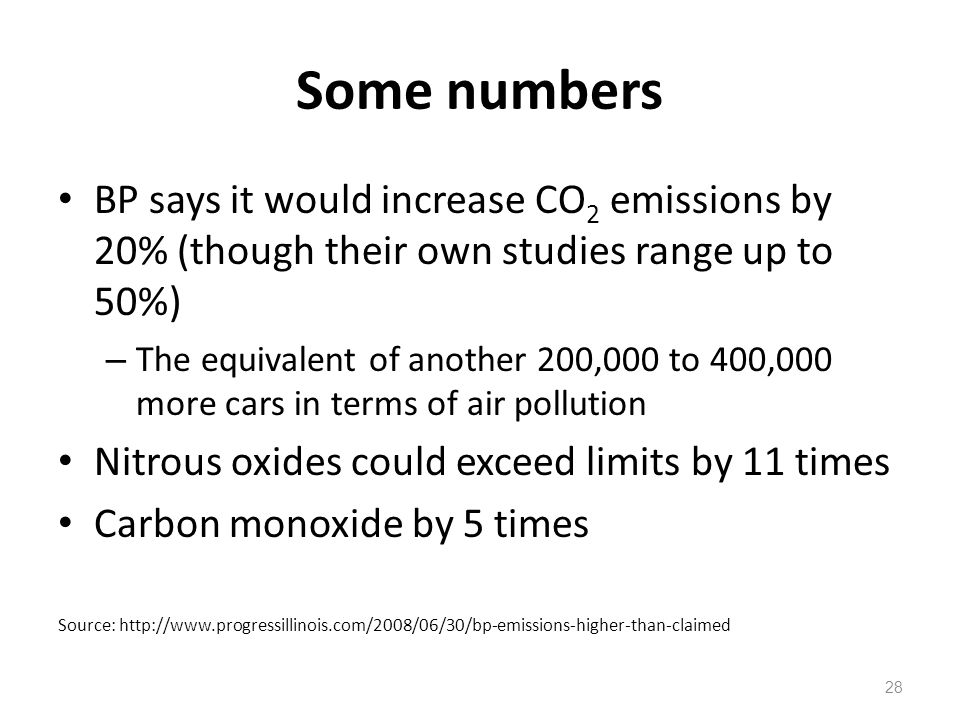 Some numbers BP says it would increase CO2 emissions by 20% (though their own studies range up to 50%)