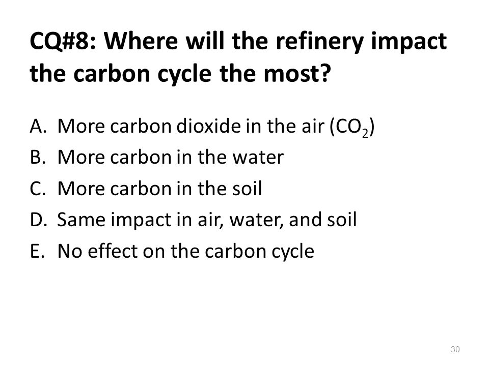CQ#8: Where will the refinery impact the carbon cycle the most