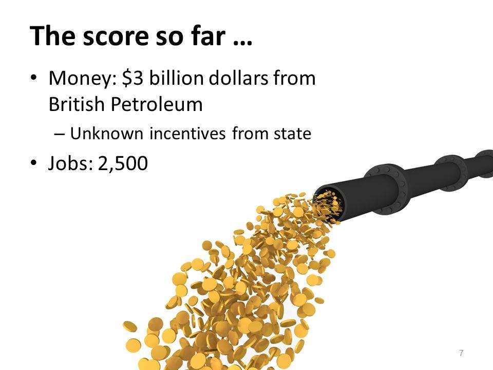 The score so far … Money: $3 billion dollars from British Petroleum