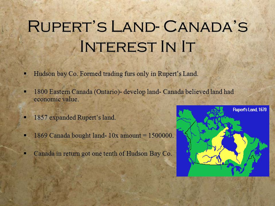 Rupert's Land- Canada's Interest In It