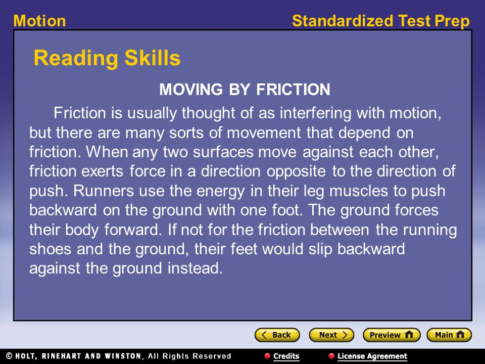 Reading Skills MOVING BY FRICTION