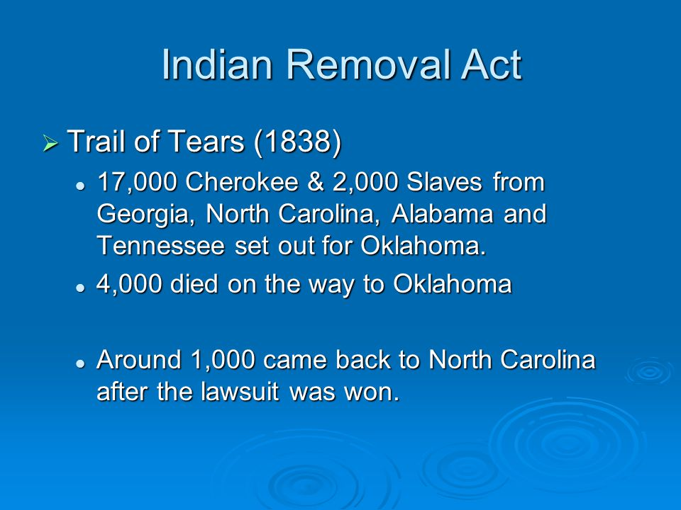 Indian Removal Act Trail of Tears (1838)