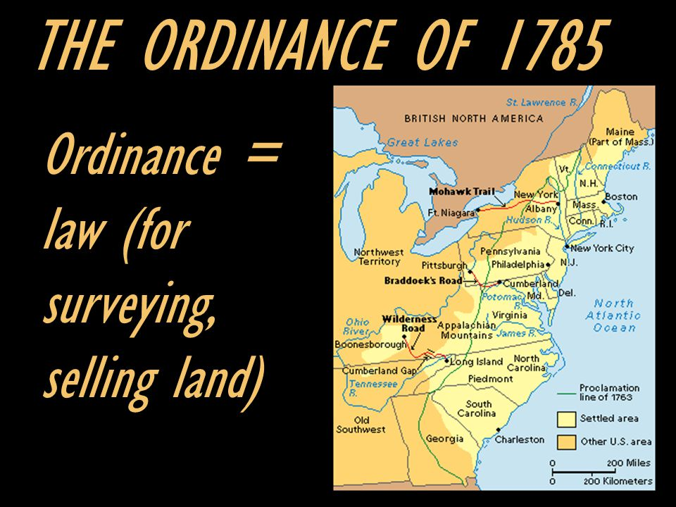 THE ORDINANCE OF 1785 Ordinance = law (for surveying, selling land)