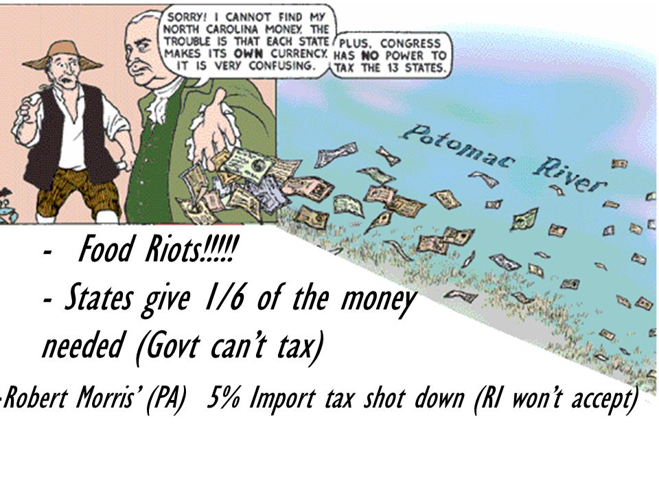 - States give 1/6 of the money needed (Govt can't tax)