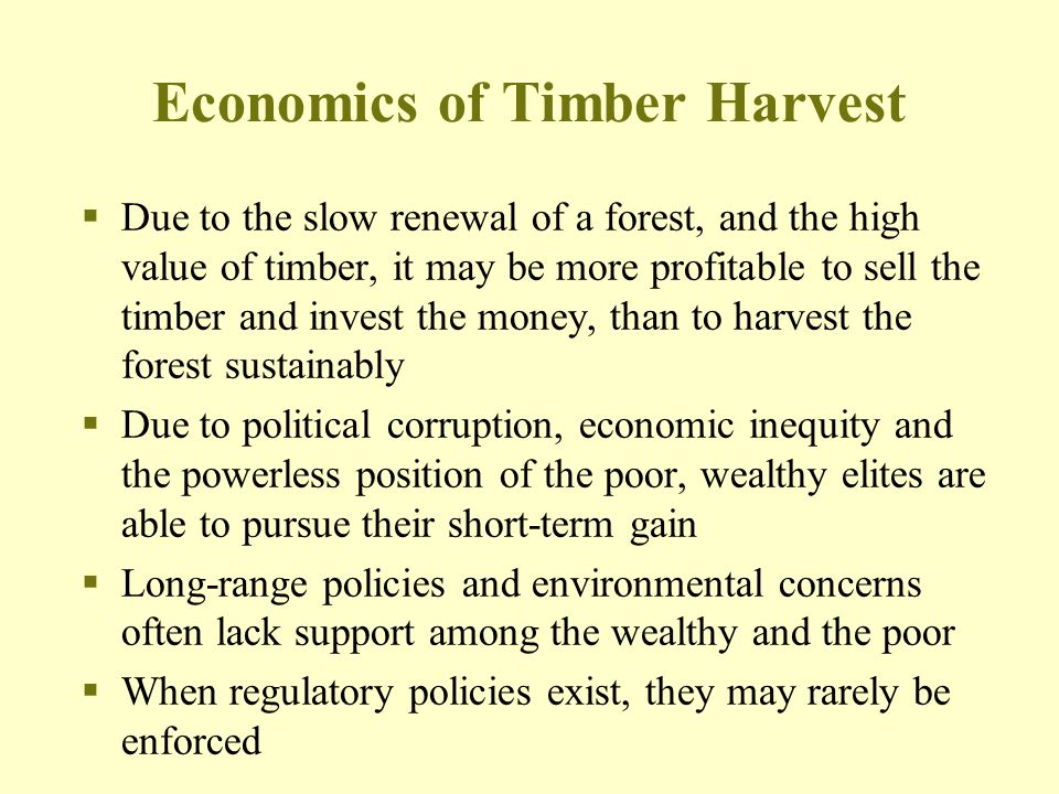 Economics of Timber Harvest