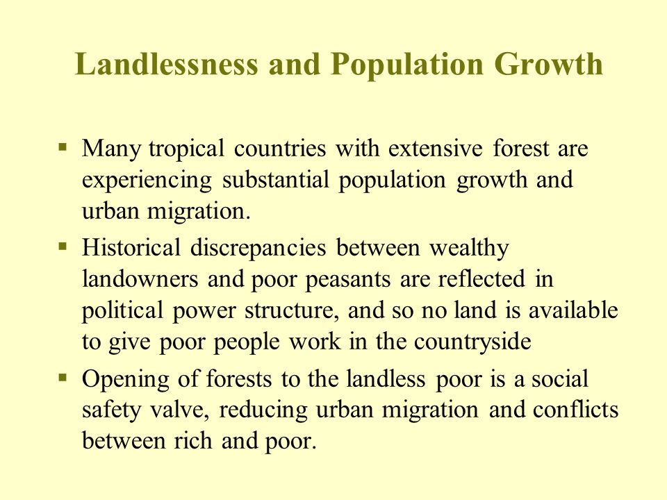 Landlessness and Population Growth