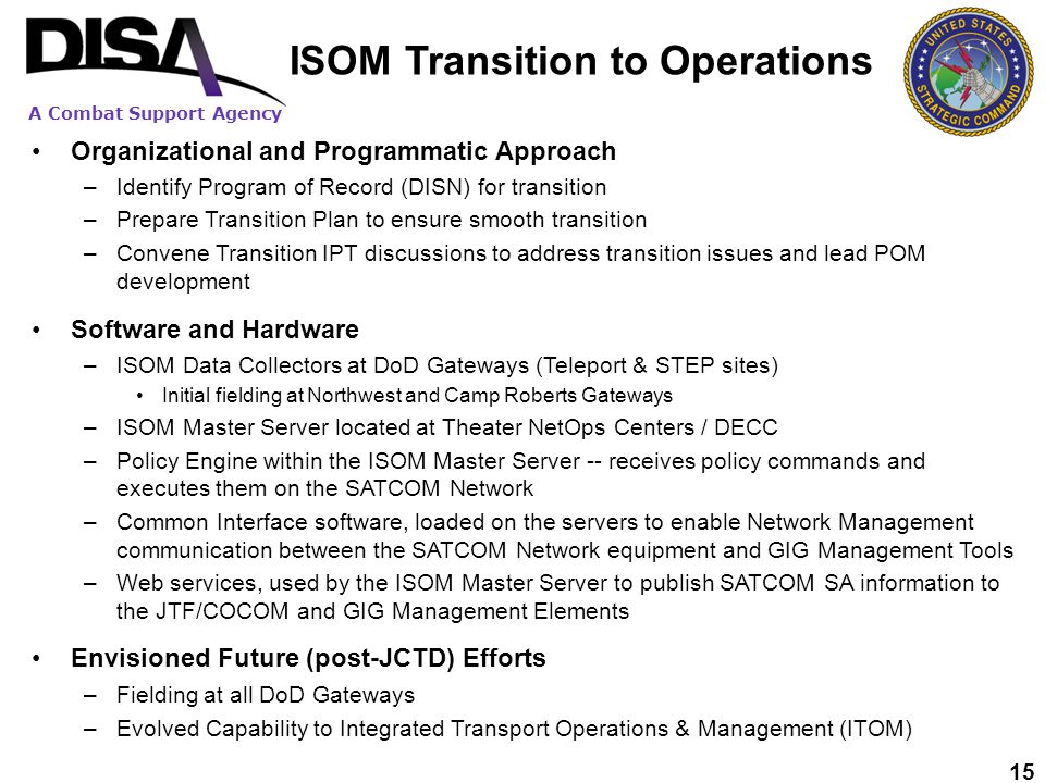 ISOM Transition to Operations