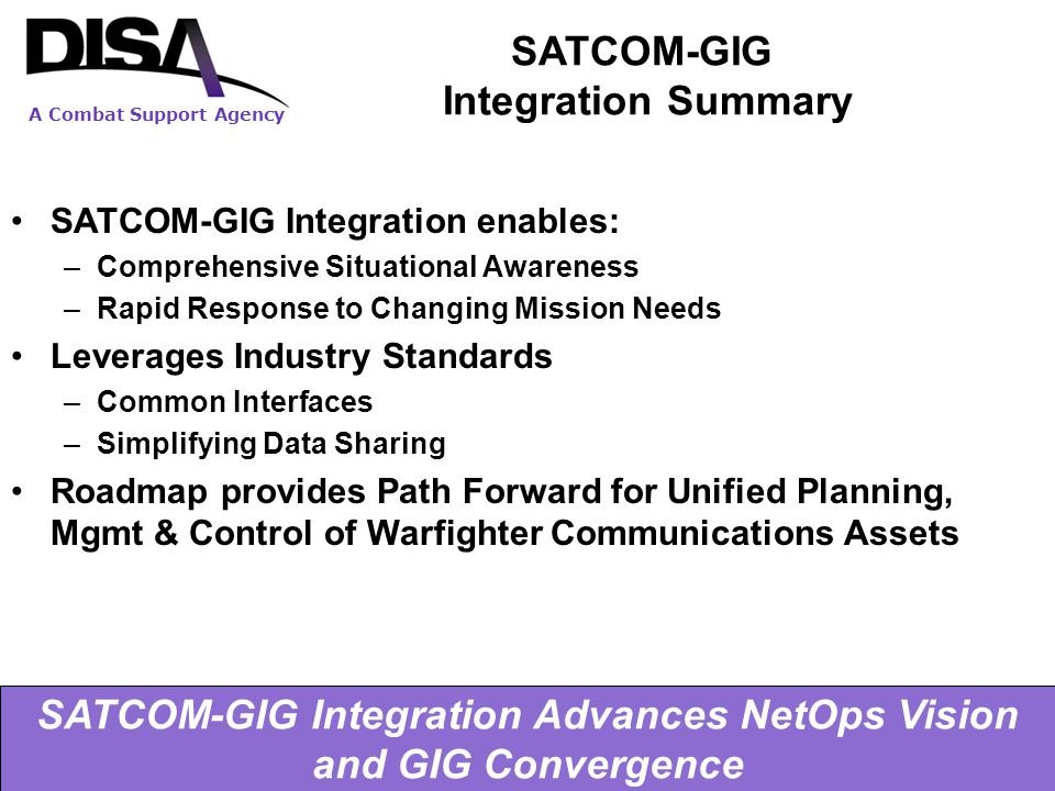SATCOM-GIG Integration Summary