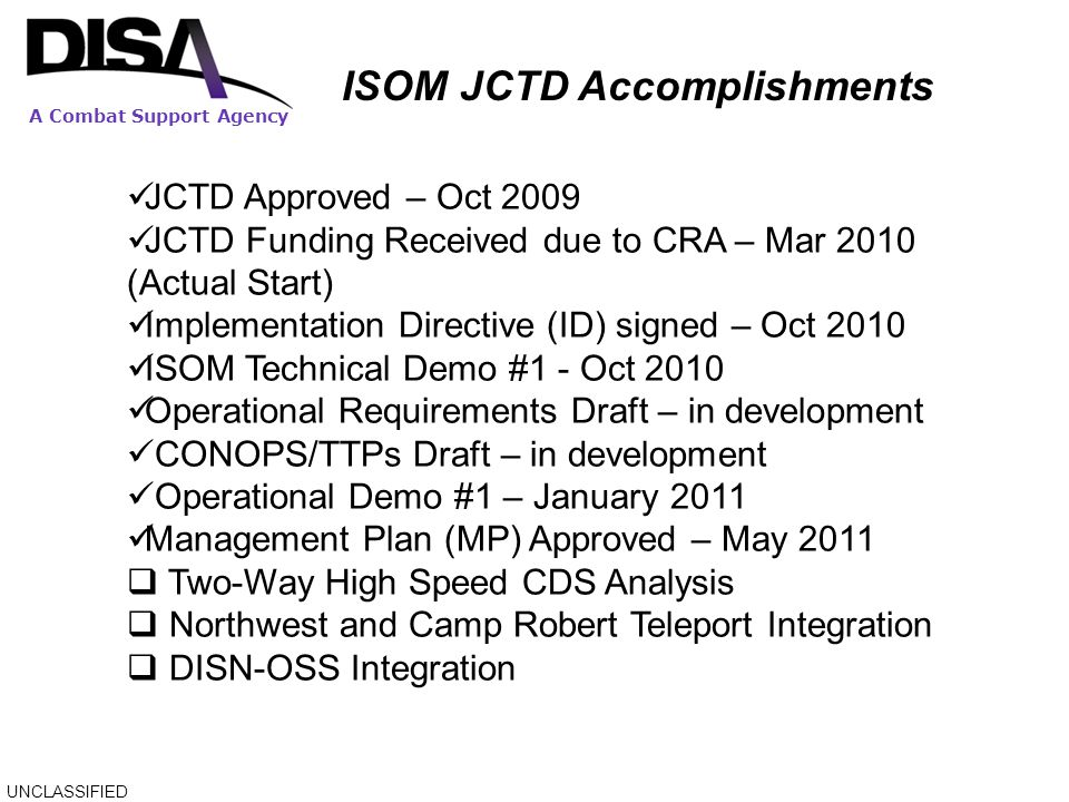 ISOM JCTD Accomplishments