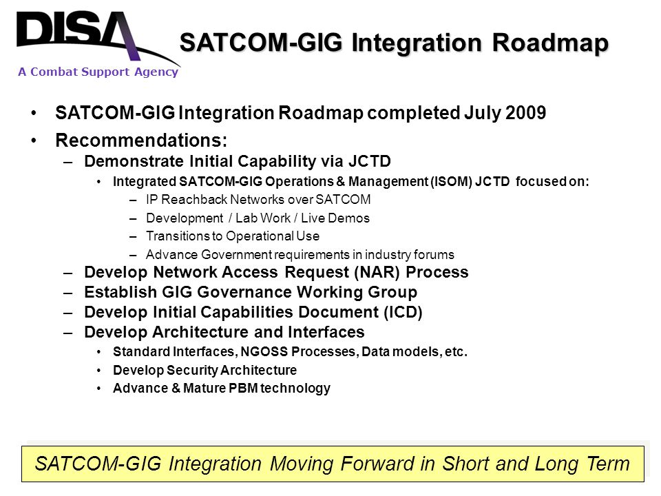 SATCOM-GIG Integration Roadmap