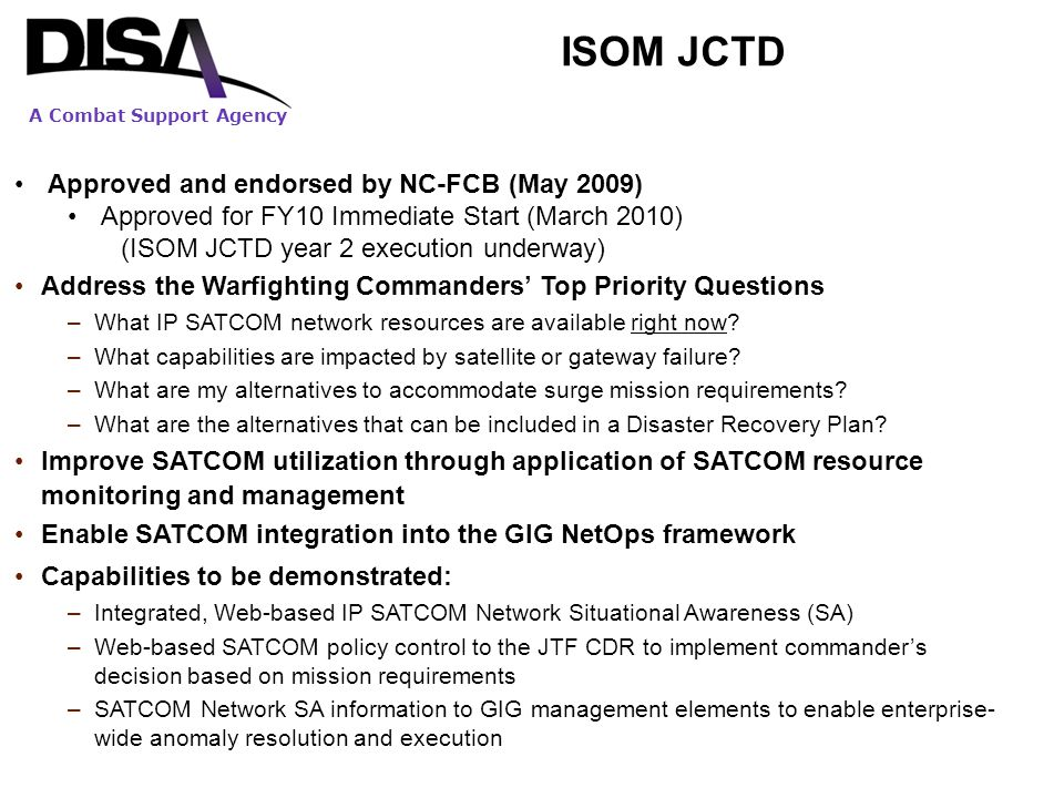 ISOM JCTD Approved and endorsed by NC-FCB (May 2009)