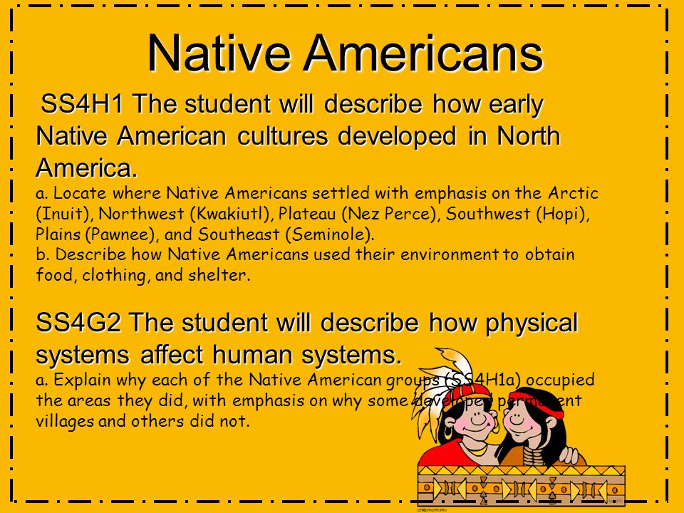 Native Americans SS4H1 The student will describe how early Native American cultures developed in North America.