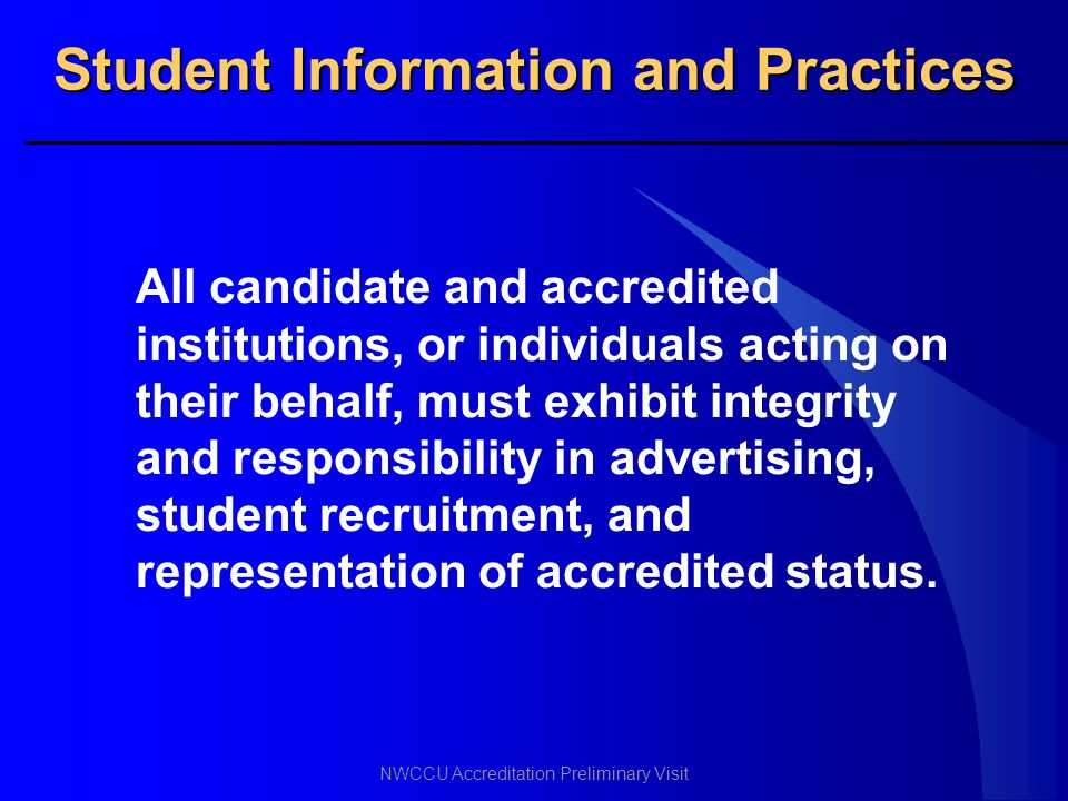 Student Information and Practices