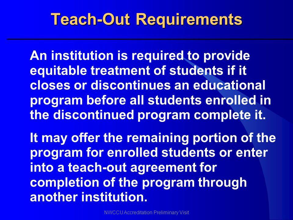 Teach-Out Requirements
