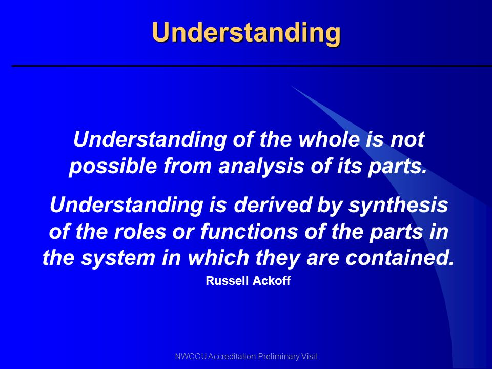 Understanding of the whole is not possible from analysis of its parts.