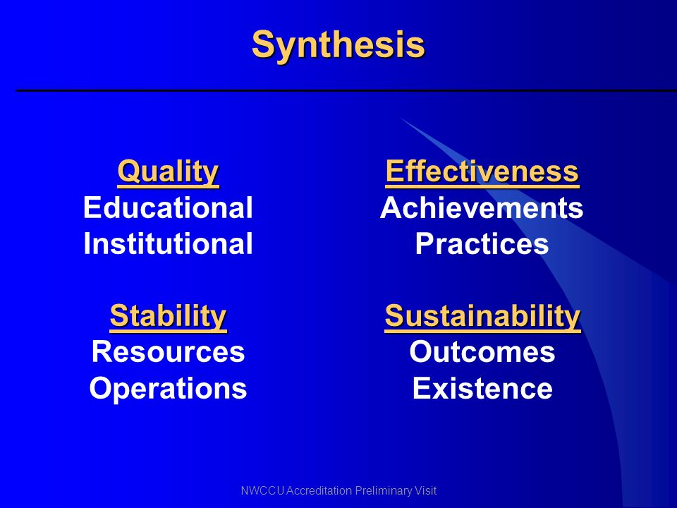 Synthesis Quality Educational Institutional Stability Resources
