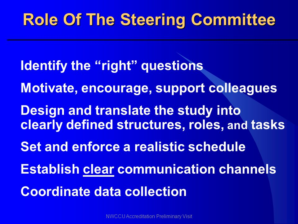 Role Of The Steering Committee