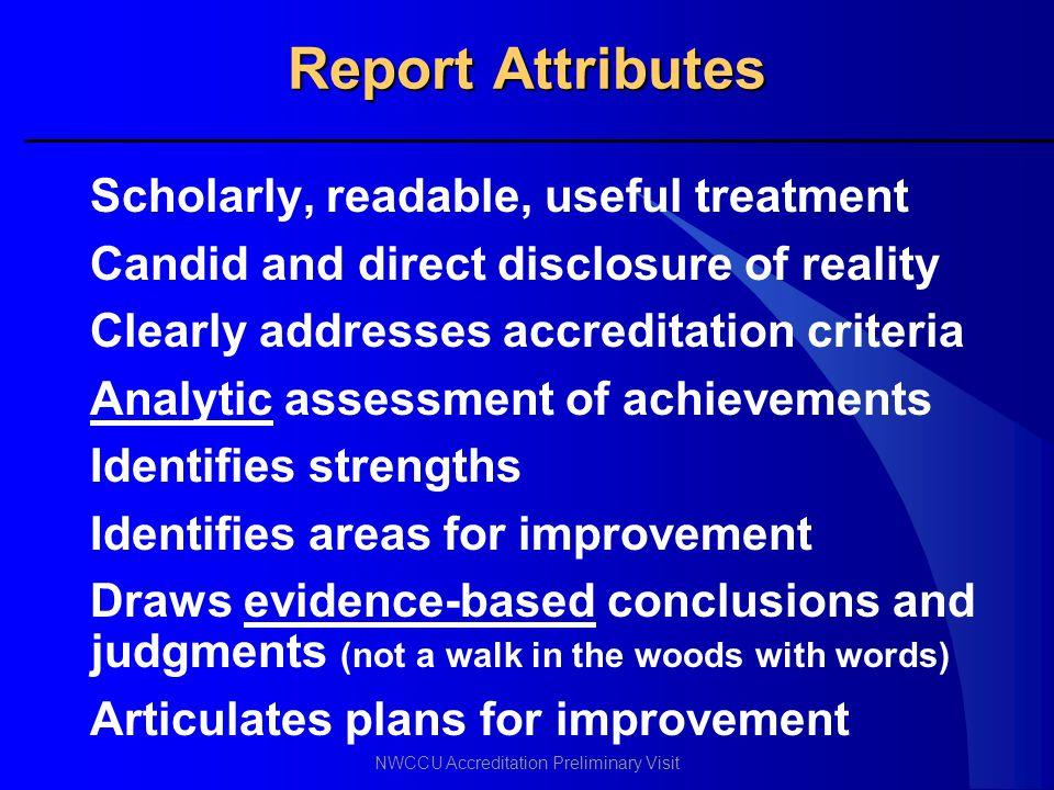 Report Attributes Scholarly, readable, useful treatment