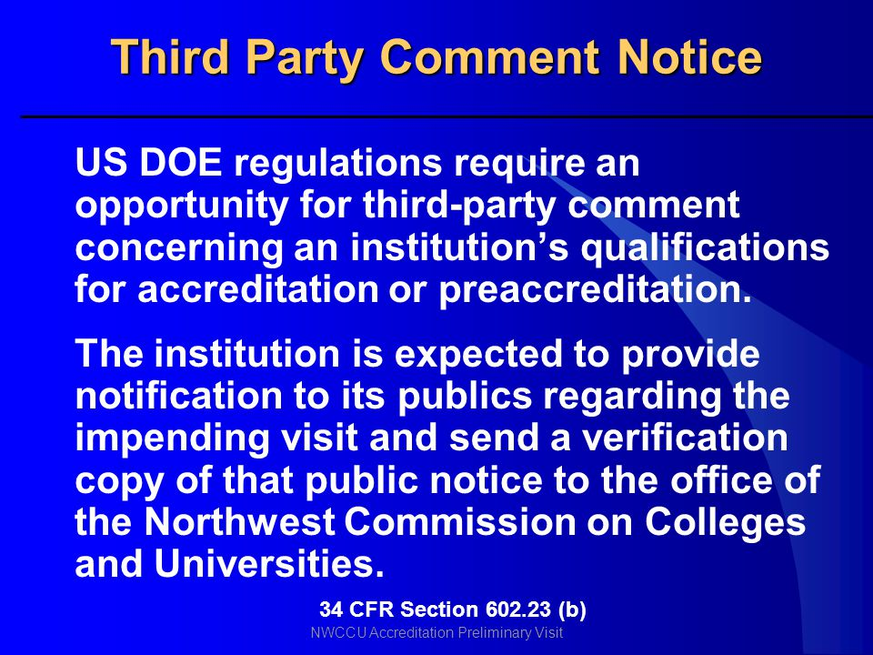 Third Party Comment Notice