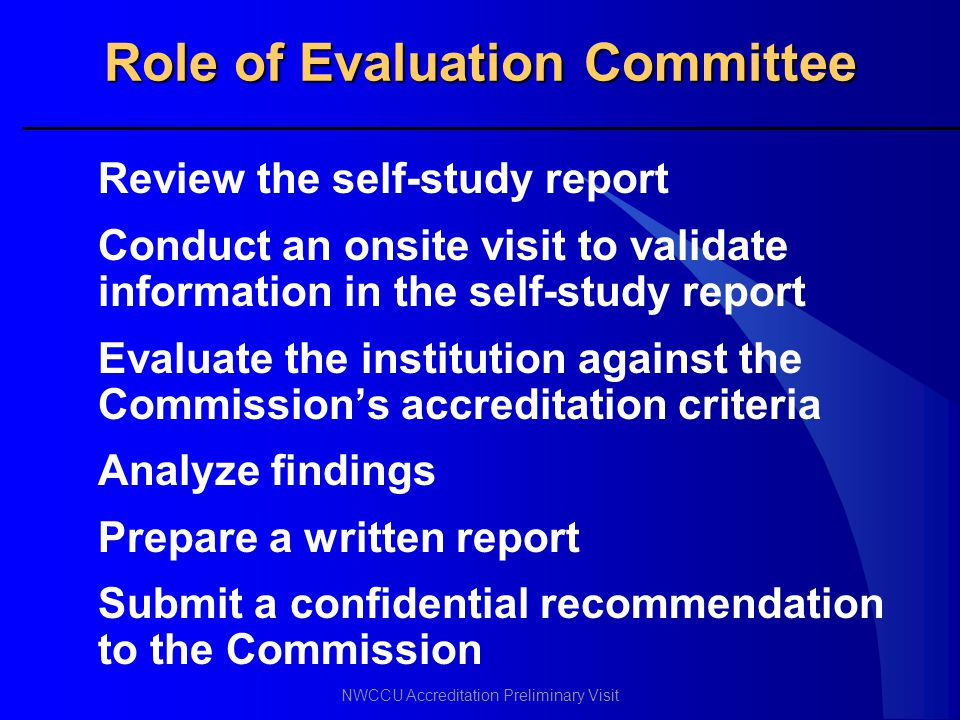Role of Evaluation Committee
