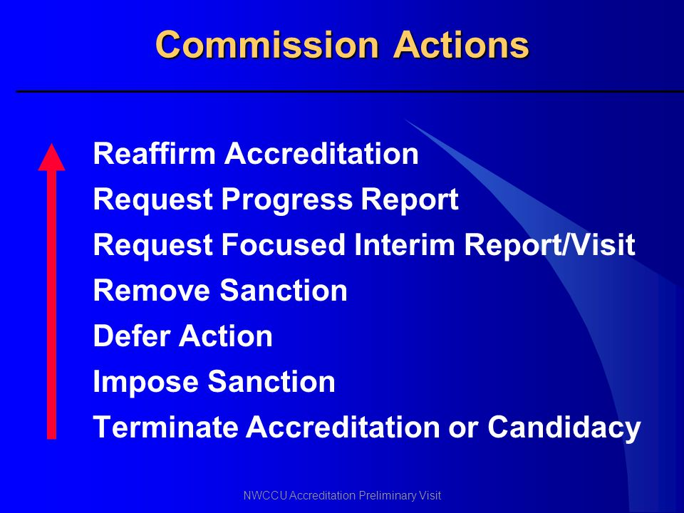 Commission Actions Reaffirm Accreditation Request Progress Report