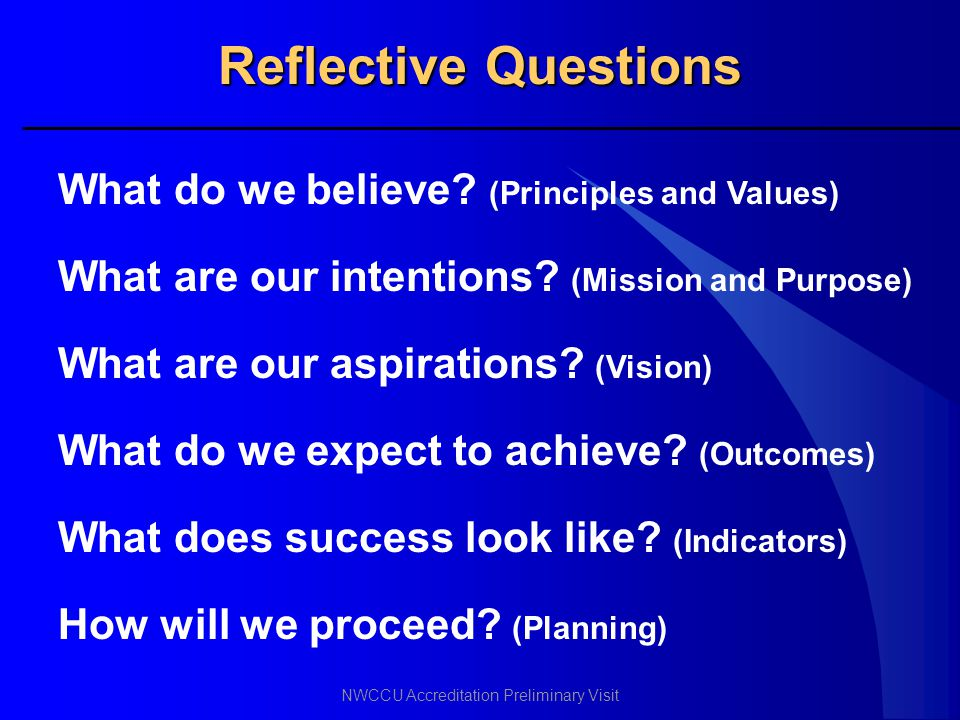 Reflective Questions What do we believe (Principles and Values)
