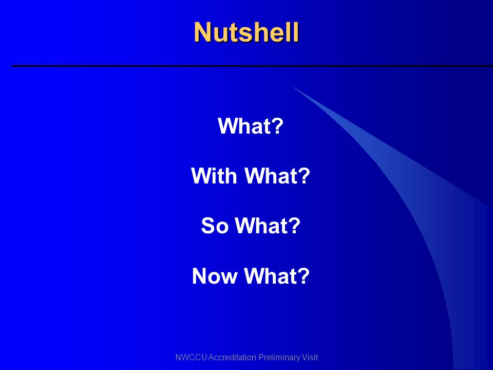 Nutshell What With What So What Now What