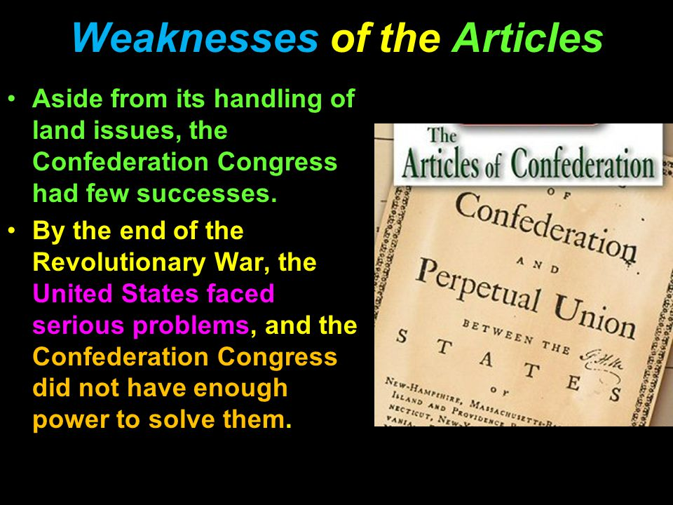 Weaknesses of the Articles