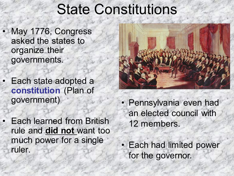 State Constitutions May 1776, Congress asked the states to organize their governments. Each state adopted a constitution (Plan of government)