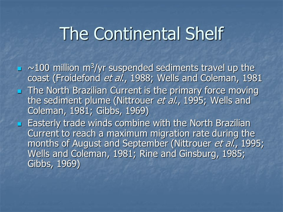 The Continental Shelf ~100 million m3/yr suspended sediments travel up the coast (Froidefond et al., 1988; Wells and Coleman, 1981.