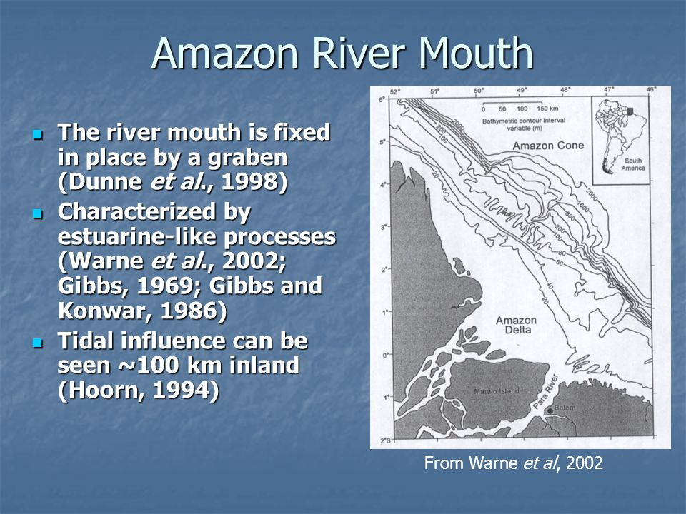 Amazon River Mouth From Warne et al, 2002. The river mouth is fixed in place by a graben (Dunne et al., 1998)