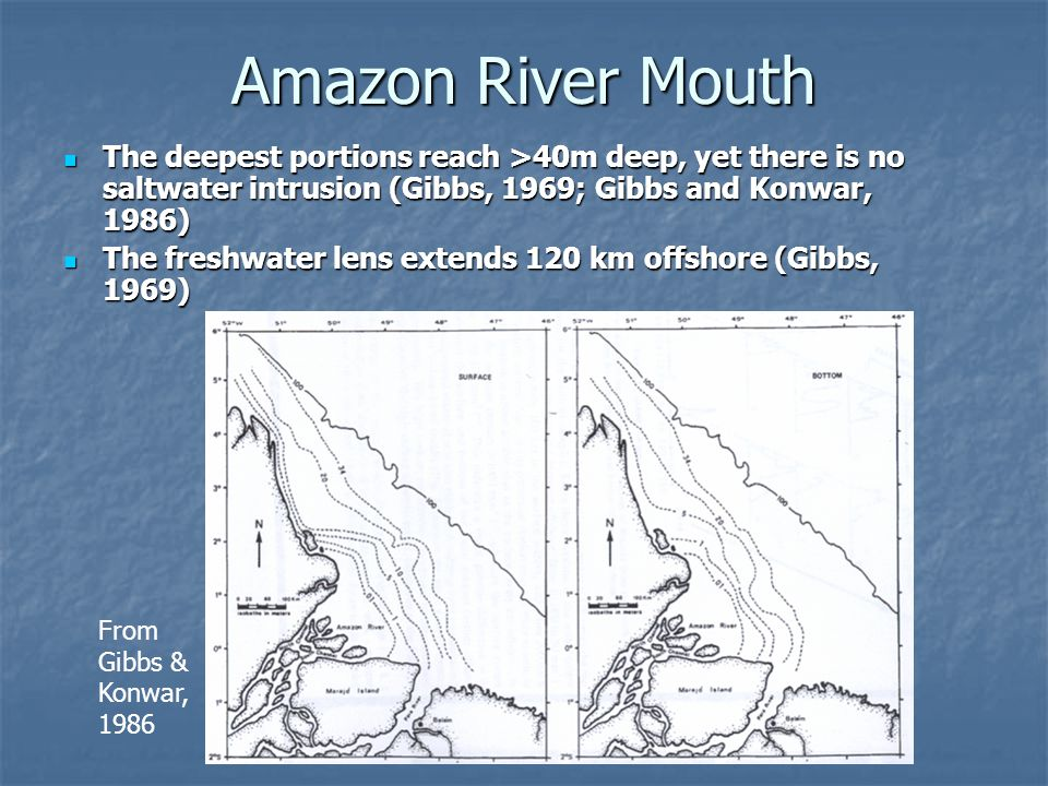 Amazon River Mouth The deepest portions reach >40m deep, yet there is no saltwater intrusion (Gibbs, 1969; Gibbs and Konwar, 1986)