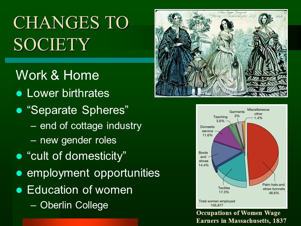 CHANGES TO SOCIETY Work & Home Lower birthrates Separate Spheres