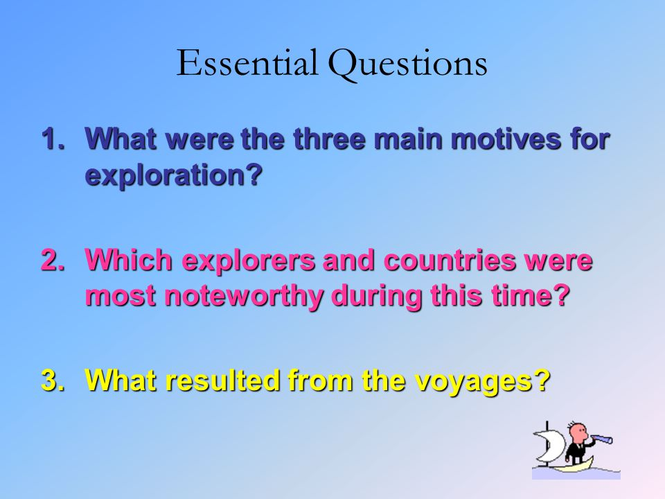Essential Questions What were the three main motives for exploration
