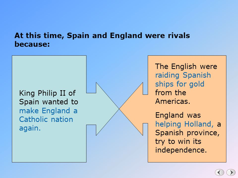 At this time, Spain and England were rivals because: