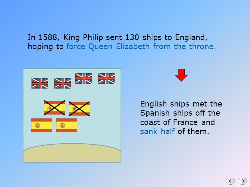 In 1588, King Philip sent 130 ships to England, hoping to force Queen Elizabeth from the throne.
